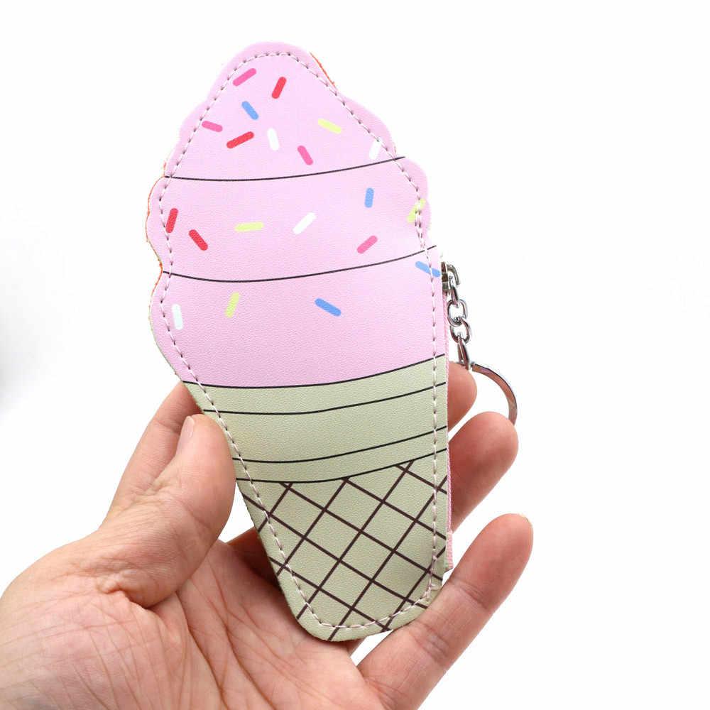 MAIOUMY ארנק קריקטורה חמוד גלידה בקבוק מטבע תיק רוכסן Kawaii מטבע ארנק מיני ארנק ילדה אוזניות שינוי אחסון ארנקים