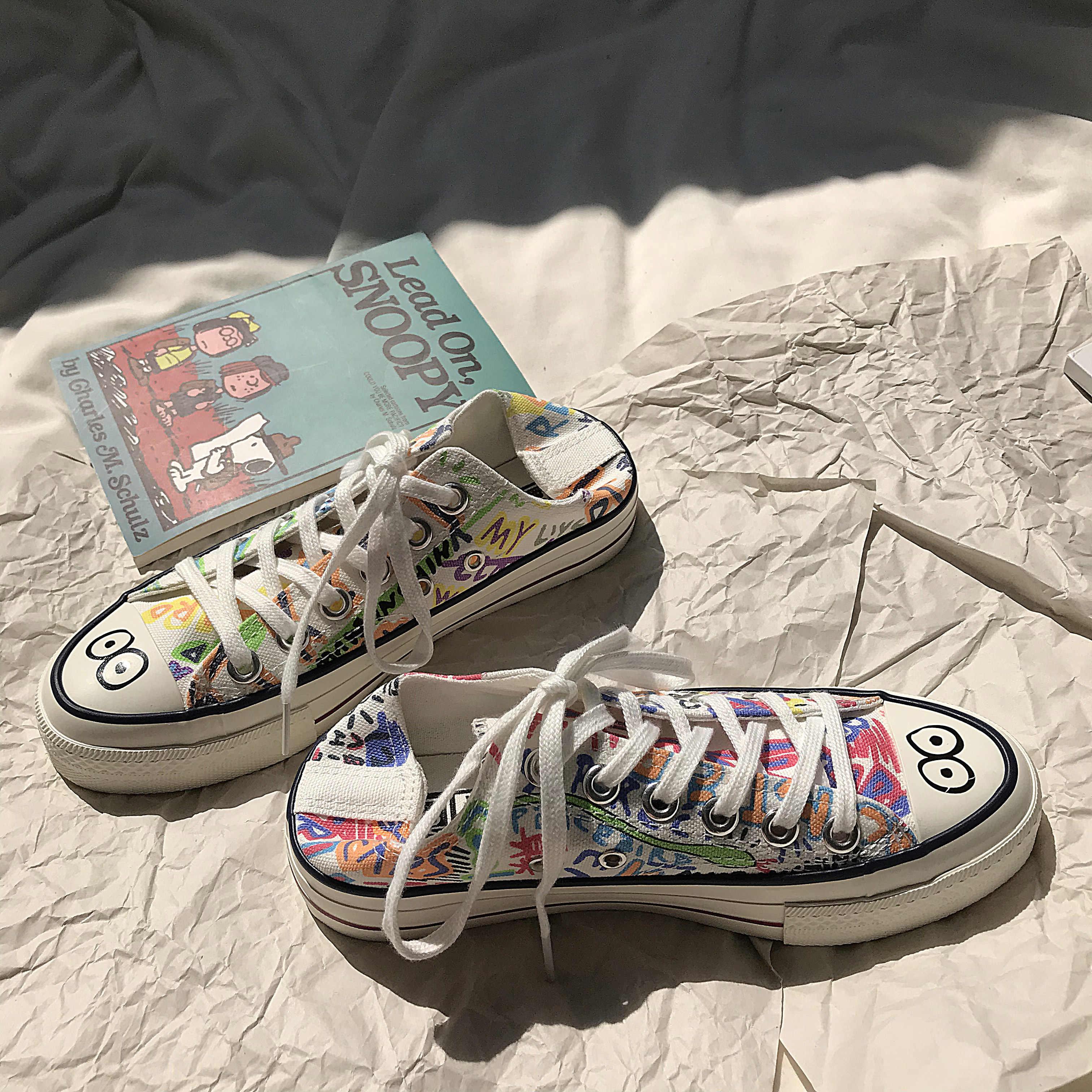 Dành Cho Nữ Tay In Hình Giày Thể Thao Thông Thường Xu Hướng Bé Gái Giày 2020 Hàng Mới Về Phẳng Nữ Graffiti Giày