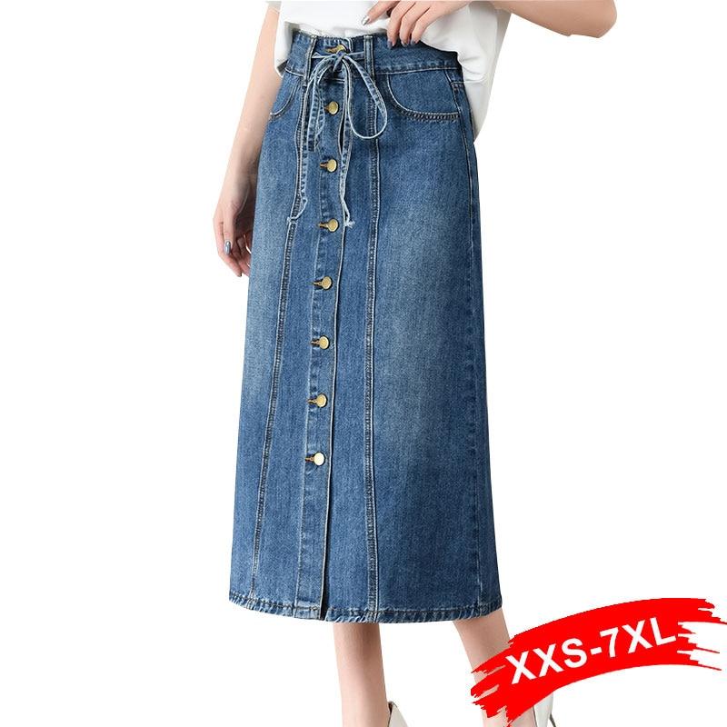 Plus Size Drawing Waist Button Up Long Jeans Skirts 3Xl 5Xl Spring Front Buttons A-Line Calf Length Casual Denim Skirt Maxi