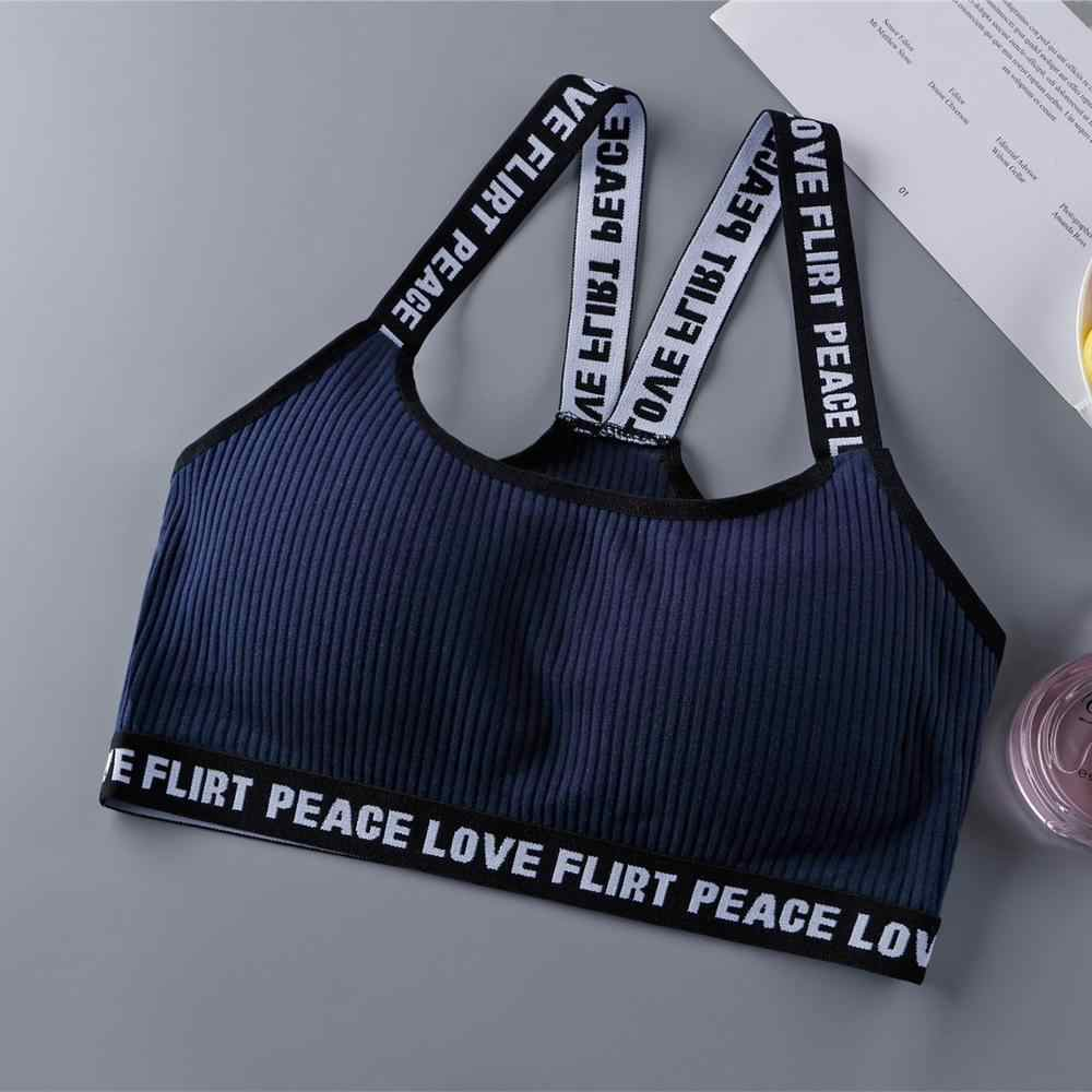 Teen Girls Underwear Soft Padded Cotton Letter Print Bra  Set for Young Girls for Yoga Sports Running Free Size