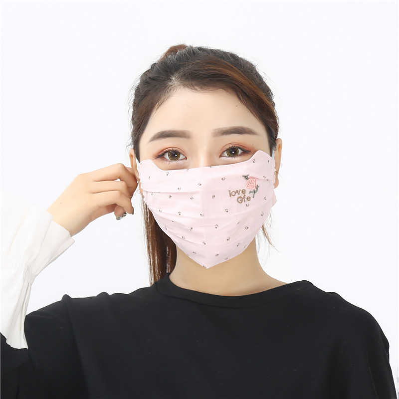 Spring Summer New Style Portable Stereo Eye Protection Embroidery Strawberry Pattern PM2.5 Ear Style Face Mask Wholesale