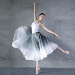 Image 2 - Kadın degrade şifon uzun elbise giyim yetişkin DanceChiffon elbise balerin dans eteği