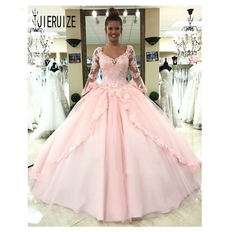 JIERUIZE Vintage Pink Ball Gown Wedding Dresses V Neck Long Sleeves Lace Up Back  Bridal Gowns Lace Appliques Robe De Mariee