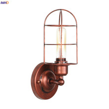 IWHD Loft Decor Indsutrial Wall Lamp Beside Living Room Porch Stair Light Rust Color Retro Vintage Wall Lights For Home Lighting