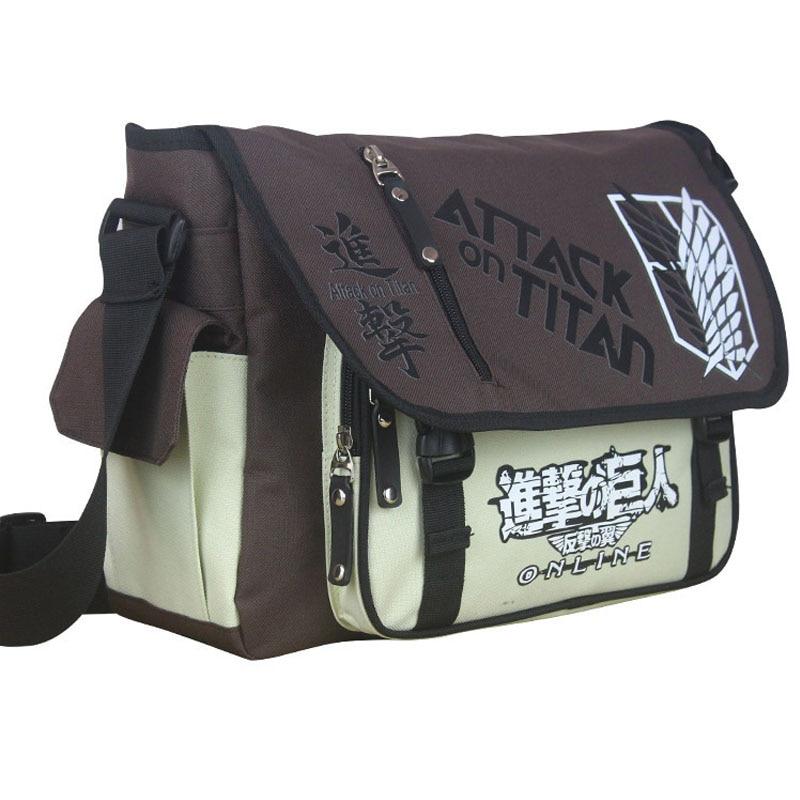 Anime Shingeki No Kyojin Messenger Bag Japanese School Students Shoulder Bags Attack On Titan Cosplay Satchel Travel Men's Bag