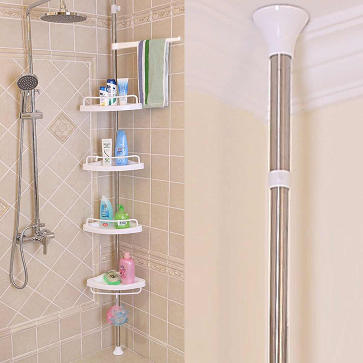 Xueqin 4 Tier Adjustable Telescopic Bathroom Corner Shower Shelf Rack Caddy Organiser Stainless Steel + PP 192-310cm White