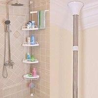 Xueqin 4 Tier Adjustable Telescopic Bathroom Corner Shower Shelf Rack Caddy Organiser Stainless Steel + PP 192 310cm White