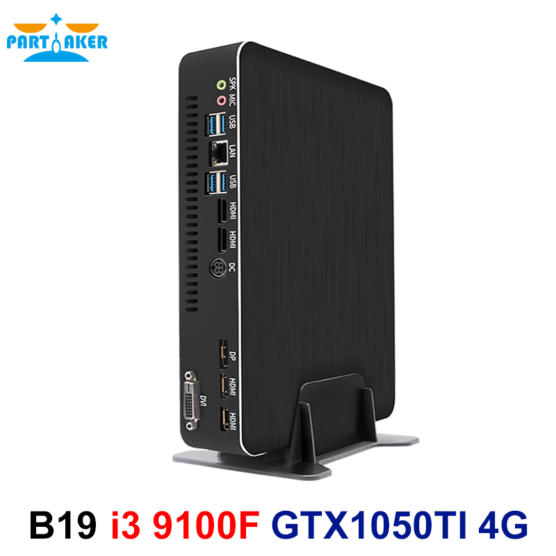 Partaker B19 Gaming Computer I3 9100F GTX1050TI 4GB Dedicated Card Mini PC Desktop Computer 2*DDR4 2*HDMI 2.0 1*DP 1*DVI WiFi