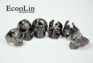 Image 2 - 100Pcs Fashion Mens Skull Skeleton Gothic Biker Rings Men Rock Punk Ring Party Favor Wholesale Jewelry Lots Top Quality LR4107