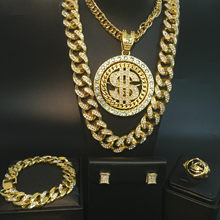 Hip hop men necklace gold necklace + pendant ice out Cuban men necklace + bracelet + ring + earrings combo men jewelry set(China)