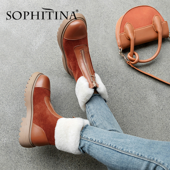 SOPHITINA Women's Wool Boots High Quality Genuine Leather Comfortable Round Toe New Fashion Shoes Keep Warm Handmade Boots PO334 sophitina wool winter boots high quality genuine leather comfortable round toe square heel shoes new handmade women boots c624