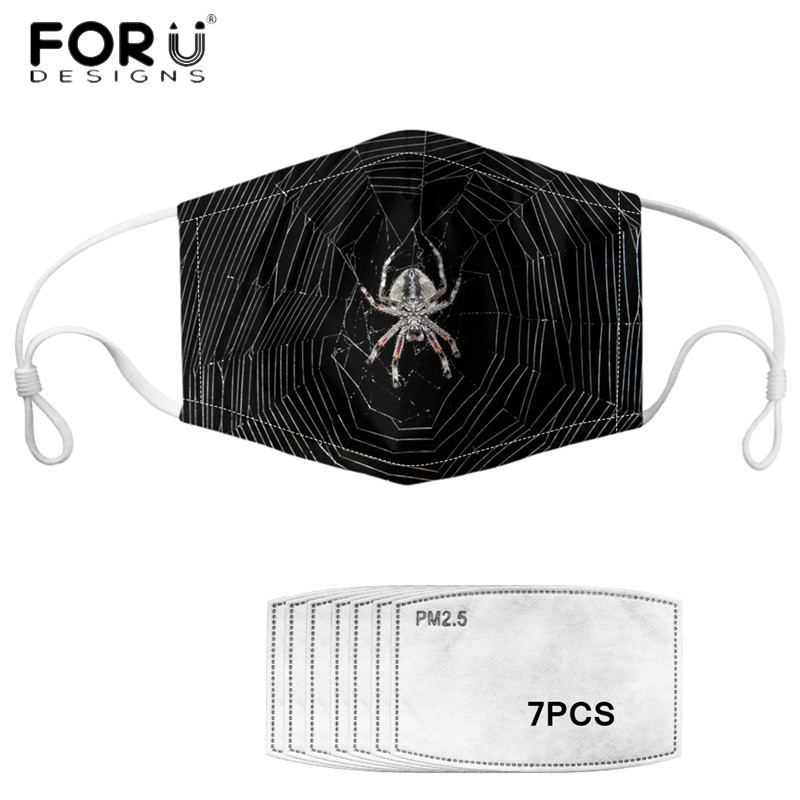 FORUDESIGNS Adults Spider Web Printed Anti-Dust Earloop Masks With 7 Pieces Filters Mask Respirator Elastic Muffle Mascherina