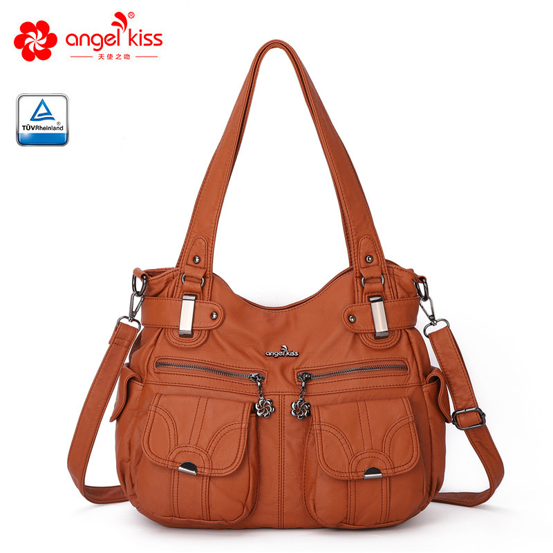 Fashion Skin-friendly 2 Top Zippers Multi Pockets Purses Washed PU Leather Tote Bags Shoulder Women Handbags