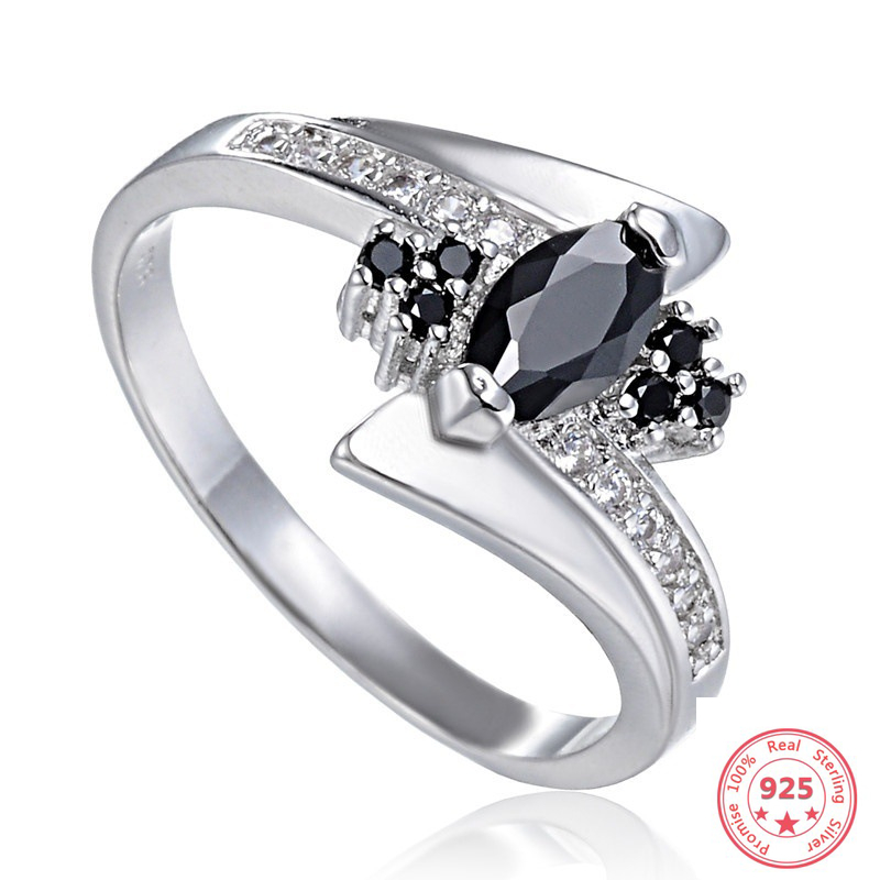 S925 Sterling Sliver Obsidian Ring For Women Fashion Oval Black Topaz Gemstone Bizuteria Anillos De 925 Sliver Ring Fine Jewelry