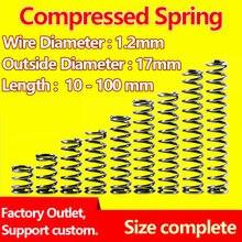 Mola de pressão de retorno de mola, mola de liberação, tomada de fábrica, diâmetro 1.2mm, diâmetro exterior de 17mm
