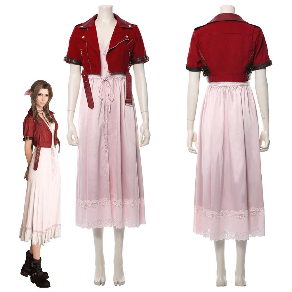 FF 7 Final Fantasy VII Aerith Gainsborough Cosplay Costume Adult Women Girls Dress Halloween Carnival Coostumes