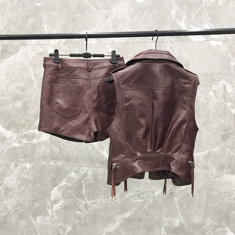 2020 New Leather  Vest Shorts Suit Female Autumn And Autumn Wine Red Leather  Two-piece Real Leather Vest  Jacket Women