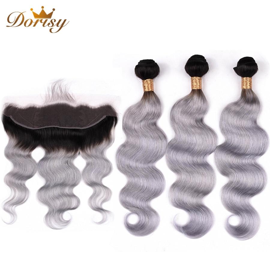 Body Wave Human Hair Bundles With Frontal T1b Grey Ombre Indian Hair Bundles With Lace Frontal Closure Dorisy Remy Hair