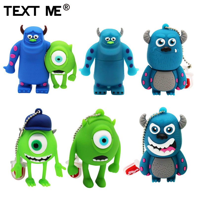 TEXT ME Cute Cartoon 3 Colour Monster University Usb Flash Drive Usb 2.0 4GB 8GB 16GB 32GB 64GB Pendrive Best Gift