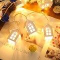Деревянный дом  сказочный светильник  2 м  тип батареи  Рождественский светильник s  наружная гирлянда для сада  свадьбы  праздника  вечеринки...