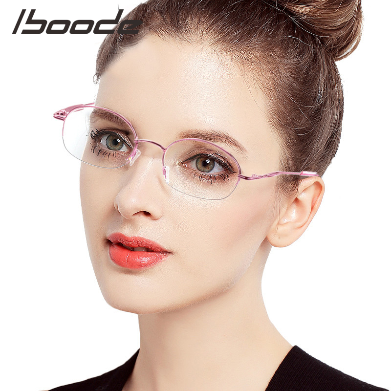 IBOODE Oval Half Frame Myopia Glasses Women Men Finished Nearsighted Eyeglasses Female Male Metal Shortsighted Eyewear
