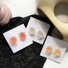 Fashion crystal flower stud earring summer style transparent irregular earrings woman jewelry fashion 2019 new