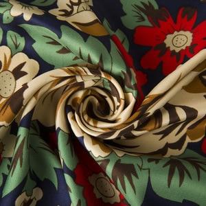 Image 5 - 2019 새로운 럭셔리 브랜드 인쇄 겨울 실크 스카프 여성 능 직물 꽃 터번 머리띠 대형 Hijab 스퀘어 스카프 목도리