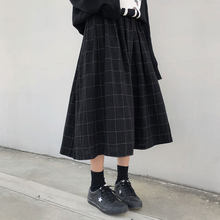 2 colors japanese style high elastic waist Long Skirts Woman 2020 autumn winter plaid A-line pleated Skirts womens (X1078)