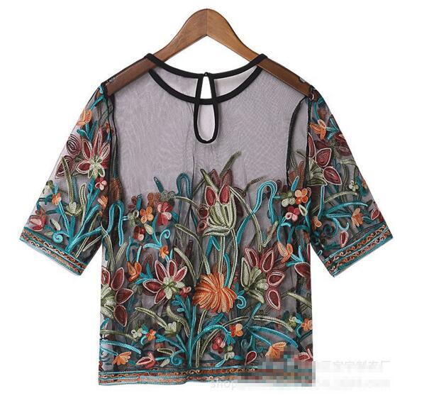 2020 Summer New In Round Neck Flowers Embroidered Tulle Short Blouse Women's Lace Mesh Transparent Tops Shirt Blouse