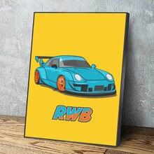 Модульные картины на холсте желто Голубой автомобиль настенное
