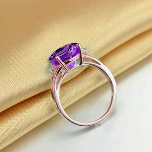 Image 4 - SLFD Natural Amethyst 18K Pure Gold 2020 New Hot Selling Top Ring Women Heart Shape Ring  For Ladies  Woman Genuine Jewelry