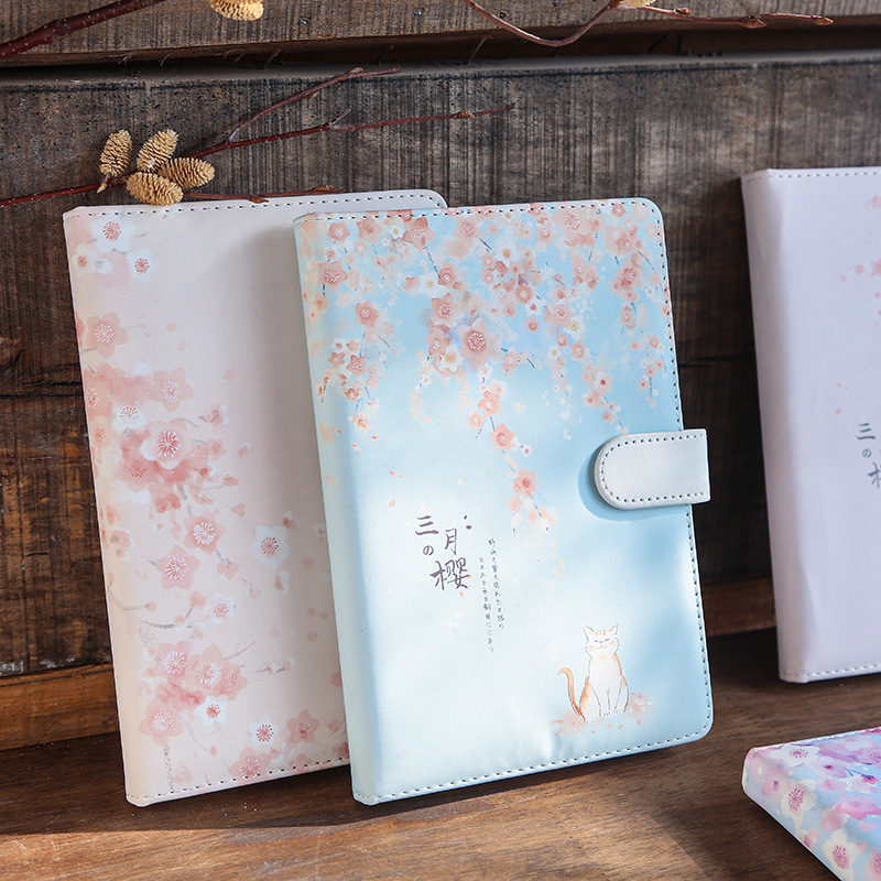March Cherry Paper Notebook Cute Girls Diary Planner Color Inside Page  Bullet Journal Notepad Travel PU Notebook