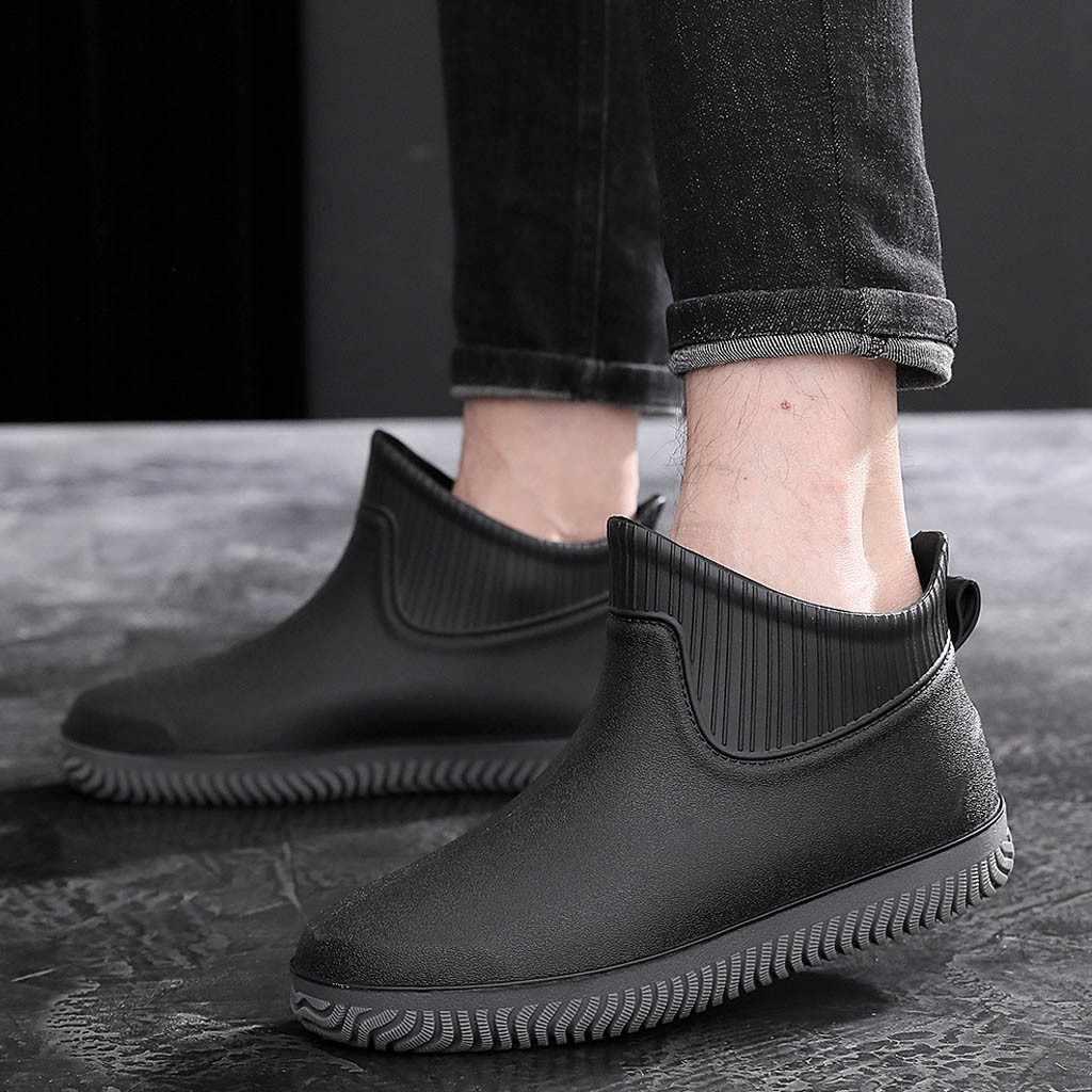 Bottes d'hiver hommes Tube court antidérapant chaussures imperméables bottes de pluie chaussures de mode pêche hiver chaud chaussures 2019 bottes imperméables