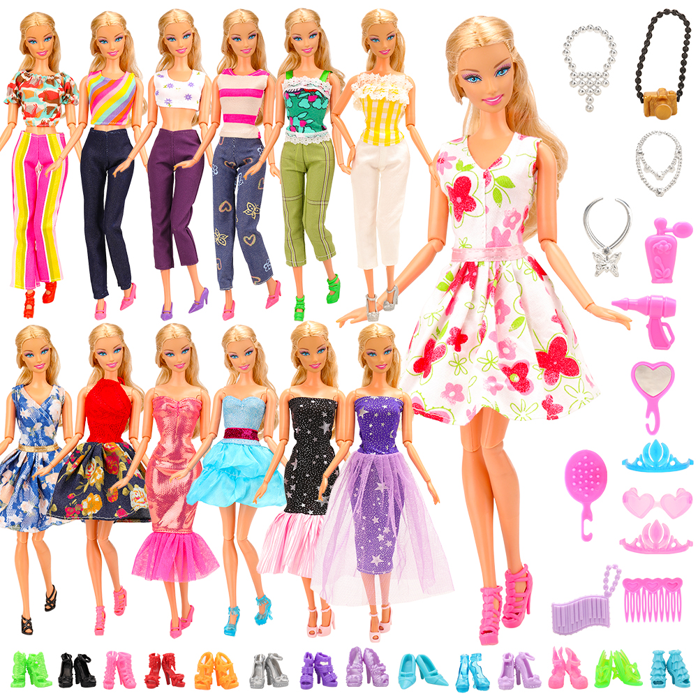 Newest Fashion High Quality 28 Items/set Random Doll Accessories Clothes Shoes Pants Top For Barbie Doll Best DIY Birthday Gift