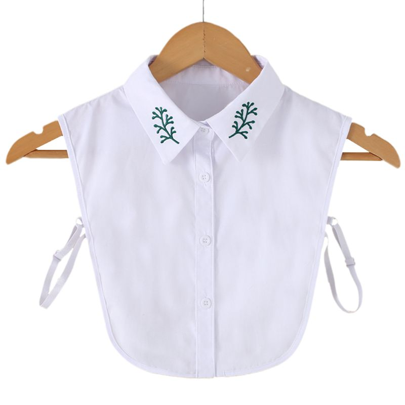 Women Green Grass Leaf Embroidered Pointed Lapel Detachable Half-Shirt Blouse Button Down Decorative False Fake Collar