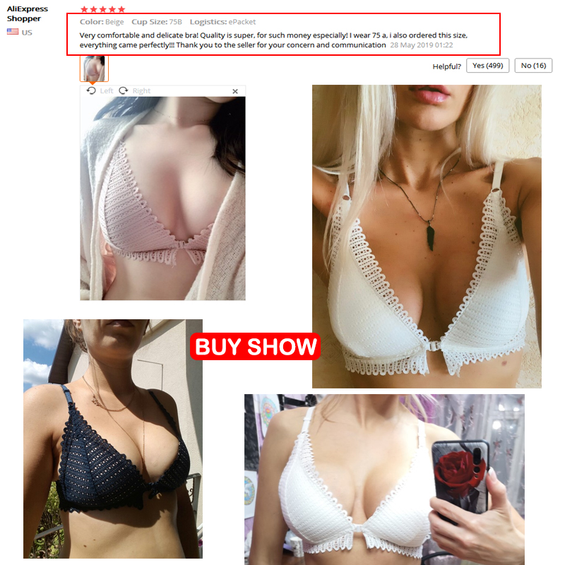 DERUILADY Sexy Lace Wireless Front Closure Bras For Women Sexy Lingerie Comfort Push Up Bra Adjusted Plus Size Backless Bralette 5