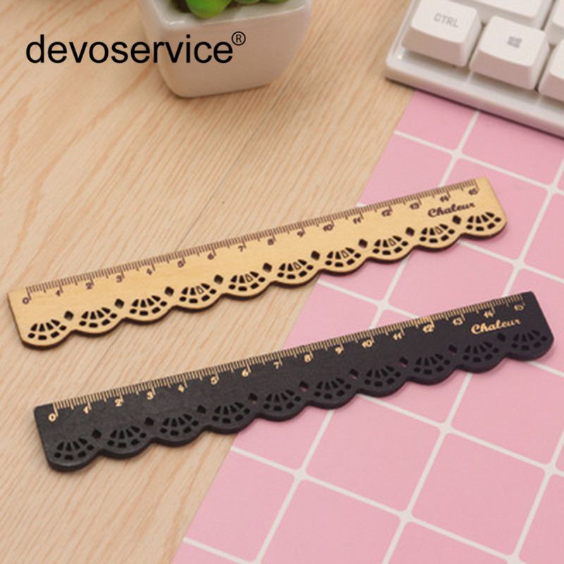 2Pcs Korea Zakka Kawaii Cute Stationery Lace Brown Wood Ruler Sewing Ruler Office School Accessories