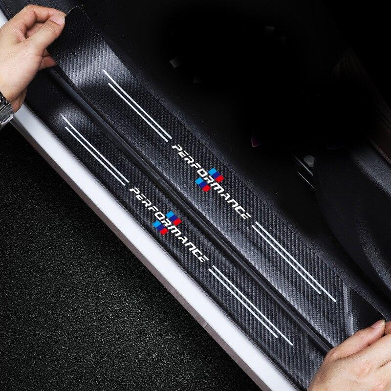 4pcs Car Sticker Door Carbon leather Fiber Sill Plate For E91 E46 E92 E93 M3 E60 E61 F10 F07 m5 m6 m7 x4 x5 x1 e30 e39 e46