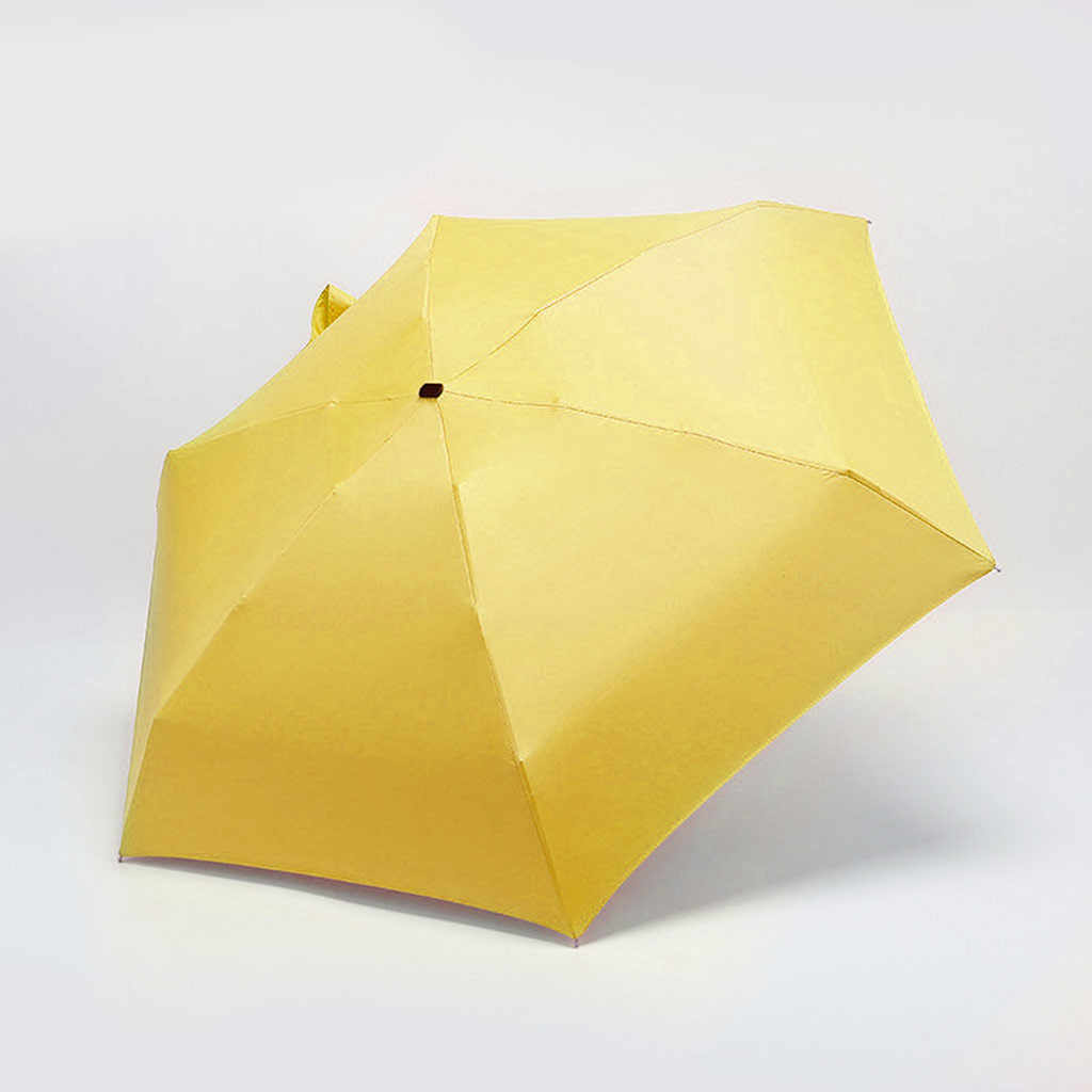 XIANGNAIZUI Fashion Folding Umbrellas Mini Pocket Umbrella Women Sunny and Rainy Portable Small Sun Parasol Umbrella Rain New Girls Parasol Color : Yellow
