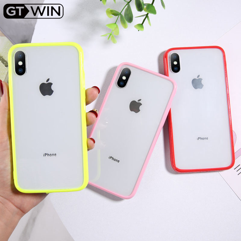 GTWIN Transparent Simple Candy Color Phone Case For Iphone 11 Pro X XR XS Max 6 6S 7 8 Plus Couples Clear TPU Acrylic Back Cover