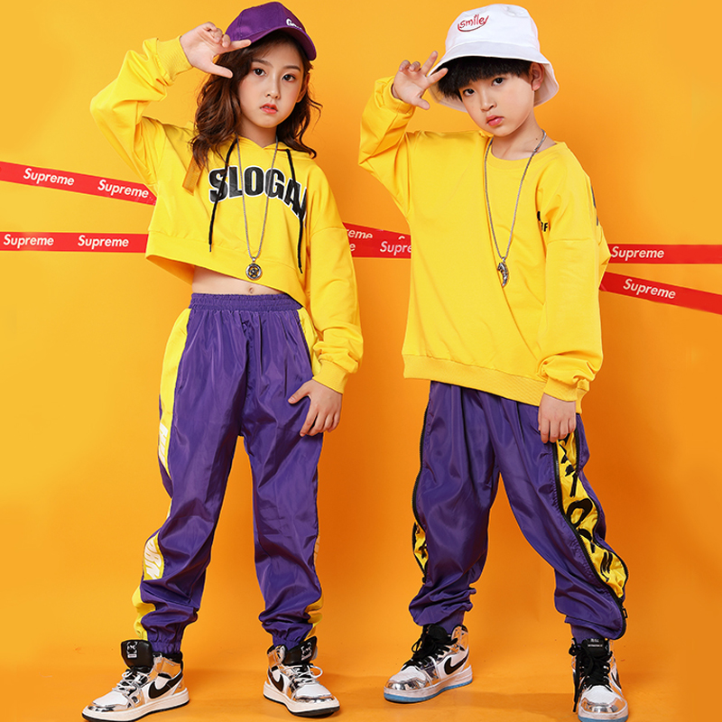 Printing Jazz Dance Costumes Kids Hip Hop Performance Clothing Long Sleeve Street Dance Rave Outfit Practice Clothes DC3220
