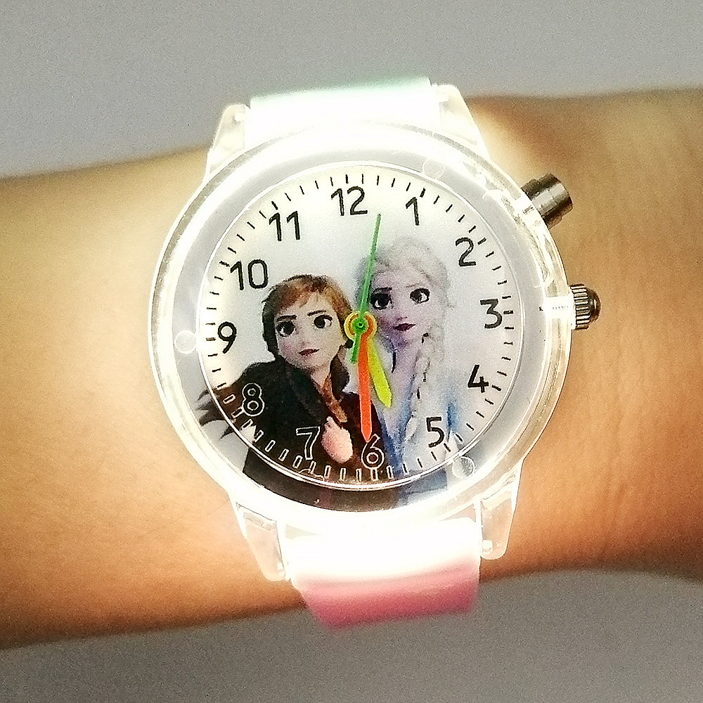 NEW Princess Elsa 2 Children Watch Spiderman Colorful Light Source Boys Watch Girls Kids Party Gift Clock Wrist Relogio Feminino