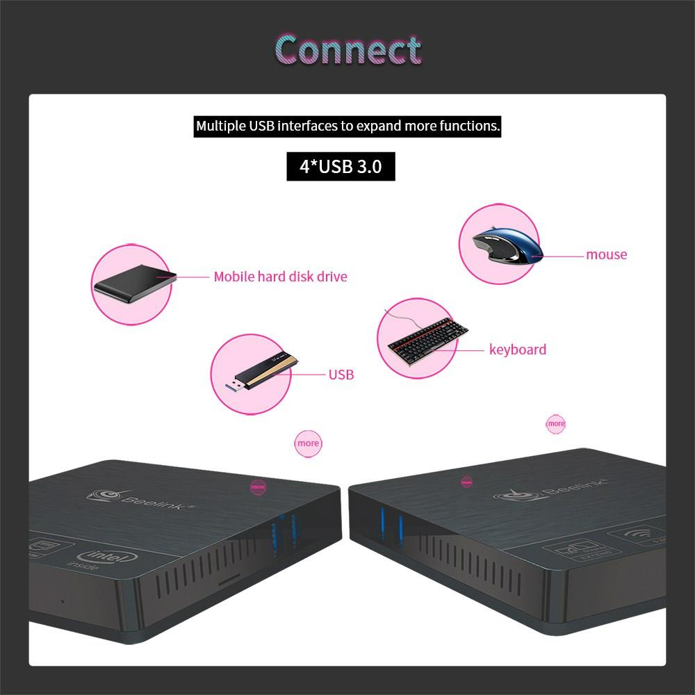 Beelink BT4 New Desktop Mini PC Intel Atom X5-Z8500 LPDDR3 4GB 64GB 2.4G/5G Dual WIFI BT4.0 Support 4K Dual-Screen Media Player