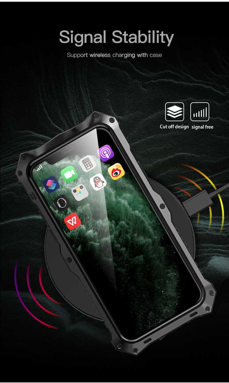 Image 5 - 360 Full Protective Case For iPhone X XS MAX XR Shockproof Soft Silicone Metal Aluminum Back Cover Phone Case For iPhone 11 ProFitted Cases   -
