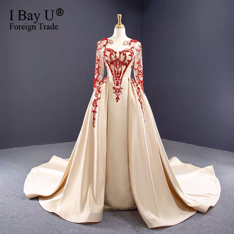 Dubai Champagne Luxury Long Sleeves Evening Dresses 2020 Round Neck Handmade Red Pearl Crystal Sexy Evening Gowns Plus Size