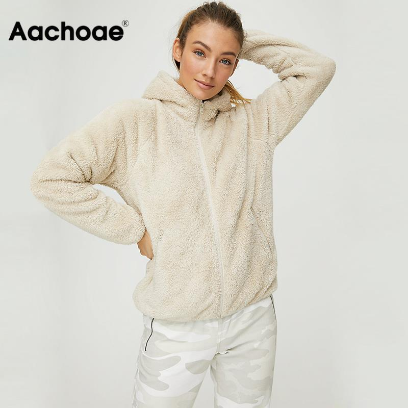 Faux Fur Coat Hooded Pockets Jackets Women Autumn Winter 2020 Casual Solid Long Sleeve Teddy Coat Fleece Zip Up Outwear Top
