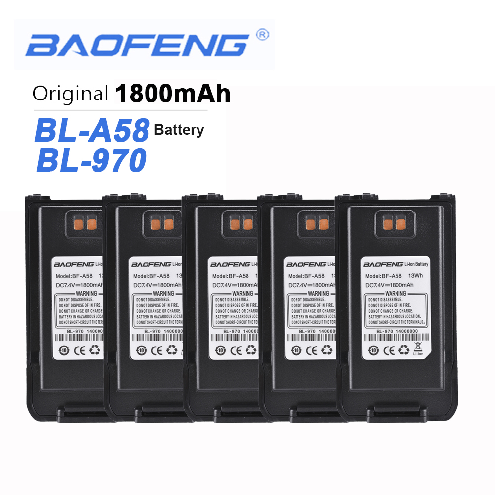5PCS New Original Baofeng A58 Walkie Talkie 7.4V 1800mAh Battery For Baofeng A58 BL-970 Two Way Radio Rechargeable Hands Free