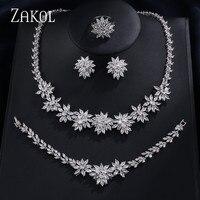 ZAKOL Classic Zirconia Wedding Jewelry Sets Flower Shaped 4 pcs Jewelry For Women Anniversary Party Show FSSP225