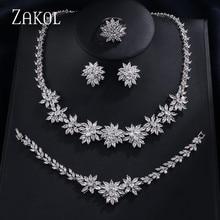 ZAKOL คลาสสิก Zirconia ชุดเครื่องประดับงานแต่งงานดอกไม้ 4 pcs เครื่องประดับสำหรับผู้หญิง PARTY FSSP225