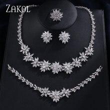 Zakol clássico zircônia conjuntos de jóias de casamento em forma de flor 4 pçs jóias para festa de aniversário feminino mostrar fssp225